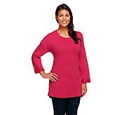 Denim & Co. Active 3/4 Sleeve Drop Shoulder Knit Tunic - A257255