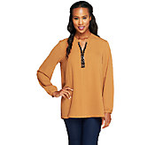 Susan Graver Woven Top w/ Embellished Split V-Neck - A257955