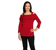Susan Graver Liquid Knit Long Sleeve Foldover Collar Top - A259555
