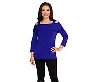 Susan Graver Liquid Knit Long Sleeve Foldover Collar Top - A259555