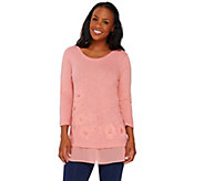 LOGO by Lori Goldstein Slub Knit Embellished Top with Trim - A262455