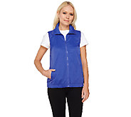 Denim & Co. Active Woven Windbreaker Zip Front Vest - A262555