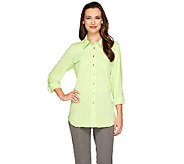 Susan Graver Stretch Woven Button Front Long Sleeve Shirt - A264455