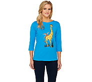 Bob Mackies 3/4 Sleeve Printed Giraffe T-shirt with Boatneck - A265055