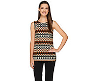Linea by Louis DellOlio Knit Zigzag Pattern Sleeveless Top - A265555