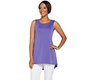Susan Graver Premier Knit Sleeveless Swing Tunic with Hi-Low Hem - A265855
