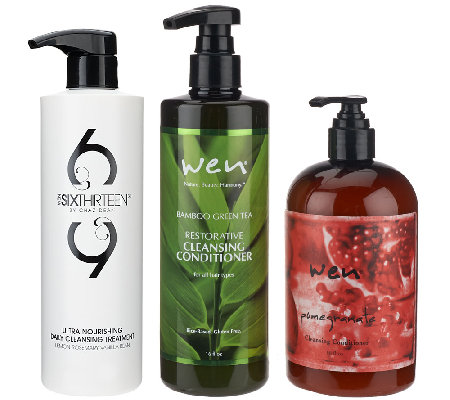 wen by chaz dean 3pc set of universal cleansing cond qvc