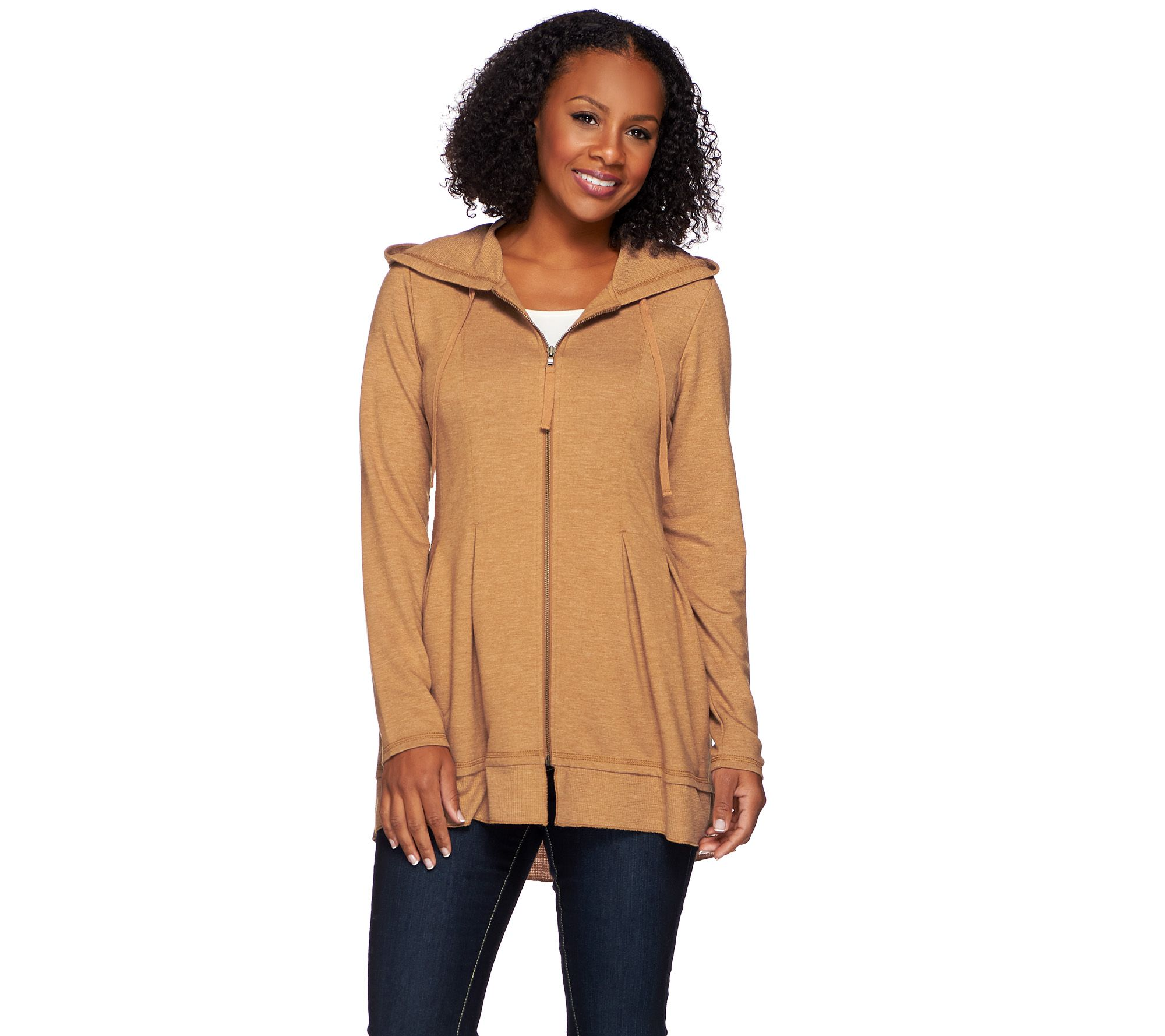 LOGO Lounge by Lori Goldstein French Terry Hooded Jacket w/ Waffle Trim - A269955