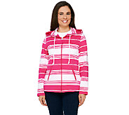 As Is Susan Graver Weekend Striped French Terry Zip Front Jacket w/Hood - A270855