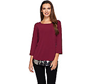 Joan Rivers Jersey Knit 3/4 Sleeve Top with Sequin Detail - A270955