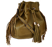 As Is G.I.L.I Pebble Leather Drawstring Bag with Fringe - A275655