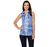 Susan Graver Artisan Embellished Woven Sleeve less Top - A276455