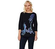 Bob Mackies Embroidered and Sequined Bird of Paradise Top - A276855