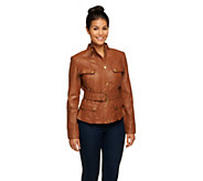 As Is G.I.L.I Perforated Leather Jacket with Belt - A277455