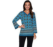 Bob Mackies Bracelet Sleeve V-Neck Printed Knit Top - A279155