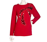 As Is Quacker Factory Jewel Neckline Sequin Bow Long Sleeve Tunic Sweater - A279555