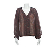 As Is Nicole Richie Collection Printed Blouse w/Velvet Detail - A280155