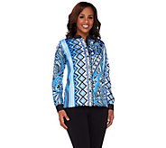 As Is Bob Mackies Long Sleeve Printed Button Front Top - A281855