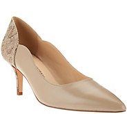 As Is Isaac Mizrahi Live! Leather and Snake Print Pumps - A283955
