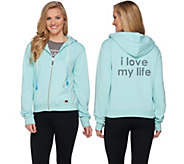 Peace Love World Zip Front Fleece Hoodie with Pockets - A285655