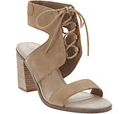 Sole Society Suede Lace-up Block Heel Sandals - Auburn - A287055