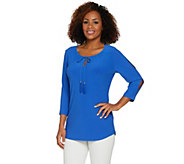 Susan Graver Textured Liquid Knit Split Sleeve Top - A287655