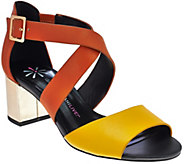 As Is Isaac Mizrahi Live! Leather Sandals with Block Heel - A287955
