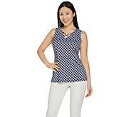 Susan Graver Printed Liquid Knit V-Neck Tank - A289155