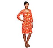 As Is Liz Claiborne New York 3/4 Sleeve Floral Print Knit Dress - A292055