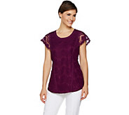 Isaac Mizrahi Live! Scallop Lace Tunic with Flutter Sleeves - A292255