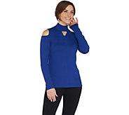 Susan Graver Rayon Nylon Cold Shoulder Mock Neck Sweater - A297155