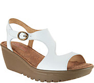 As Is Skechers Leather Open Toe Cut-out Wedges - A300255