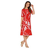 Susan Graver Printed Liquid Knit Dress with Ruffle Detail - A302655