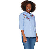 Denim & Co. Floral Embroidered Button Front 3/4 Sleeve Top - A304655