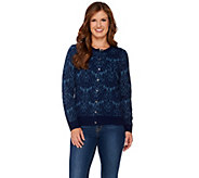 As Is Isaac Mizrahi Live! 2-Ply Cashmere Damask Jacquard Cardigan - A305855