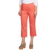 Susan Graver Stretch Cotton Sateen Side Zip Crop Pants - A200956