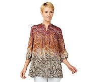 Liz Claiborne New York Ombre Paisley Print Tunic w/Pintucks - A226356