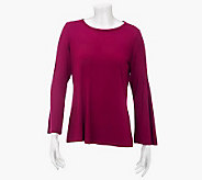 Susan Graver Stretch Knit Top with Pintuck Sleeve Detail - A230156