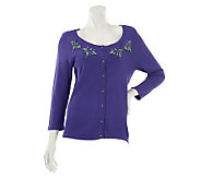 Kelly by Clinton Kelly Button Front Cardigan with Bead Detail - A231456