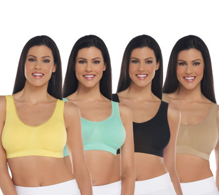 Genie Bra Set of 4 2 Basic and 2 Lace Bras w/ Modesty Pads