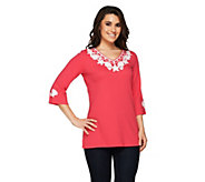 Quacker Factory Pearly Embroidered Seashell Tunic - A252756