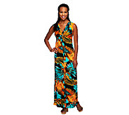 Attitudes by Renee Petite V-Neck Knot Front Maxi Dress - A253956