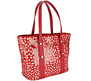 Sondra Roberts Patent Leather Laser Cut Tote - A255456