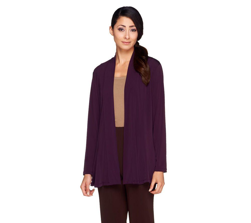 Susan Graver Liquid Knit Long Sleeve Open Front Cardigan - Page 1 ...