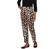 Susan Graver Printed Liquid Knit Straight Leg Ankle Pants - A256556