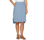 LOGO Lounge by Lori Goldstein Elastic Waist Skirt with Pockets - A263256