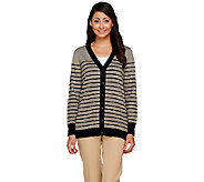 Linea by Louis DellOlio Whisper Knit Button Front Stripe Cardigan - A263356