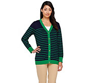 Linea by Louis DellOlio Whisper Knit Button Front Stripe Cardigan - A263356