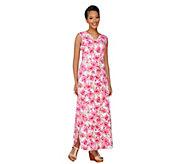 Denim & Co. Perfect Jersey Printed V-Neck Maxi Dress - A263656