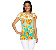 Isaac Mizrahi Live! Engineered Peony Floral Printed T-shirt - A266056